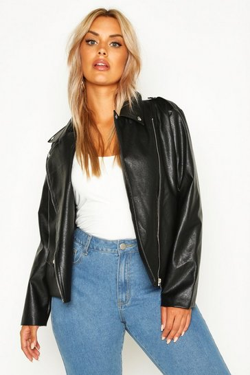 Black Plus Leather Look Pu Jacket