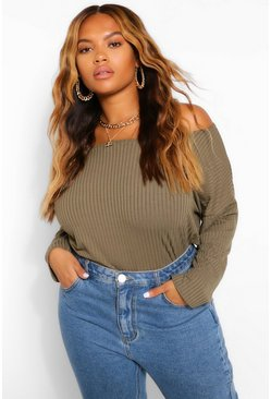 Khaki Plus Off The Shoulder Knitted Sweater