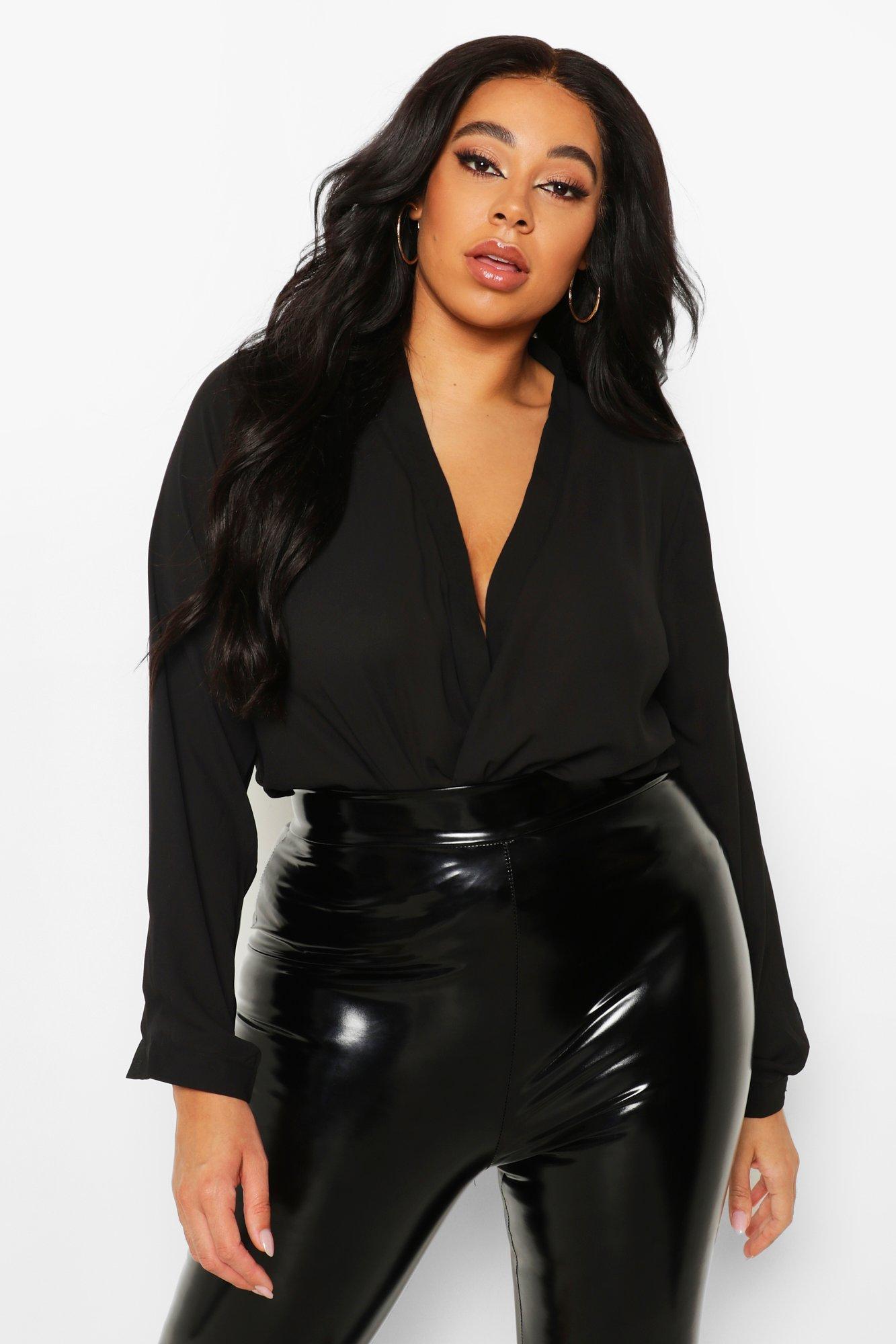 Plus Draped Long Sleeve Blouse 12