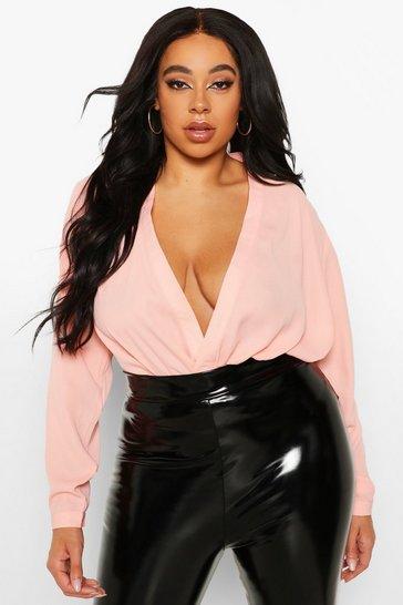 Blush pink Nude Plus Draped Long Sleeve Blouse