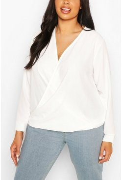 Ivory white Plus Draped Long Sleeve Blouse