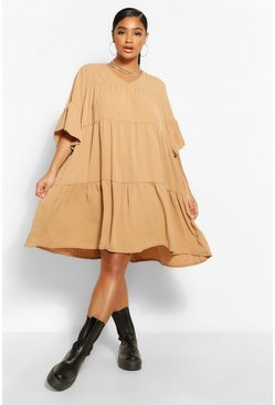 Khaki Plus Ruched Detail Smock Dress