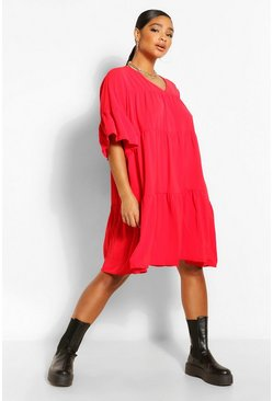 Red Plus Ruched Detail Smock Dress