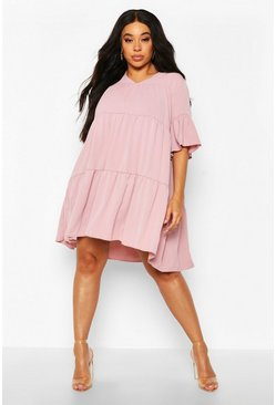 Rose pink Plus Ruched Detail Smock Dress