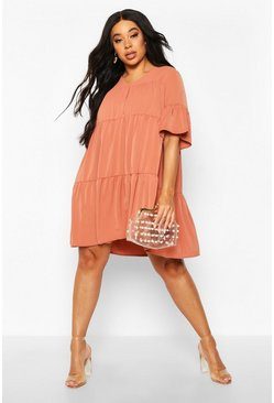 Terracotta orange Plus Ruched Detail Smock Dress