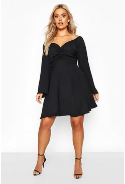 Black Plus Puff Sleeve Ruched Detail Skater Dress