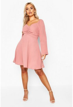 Rose Plus Puff Sleeve Ruched Detail Skater Dress
