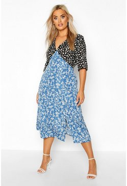 Blue Plus Contrast Floral Side Split Midi Dress