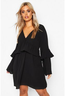 Black Plus Frill Detail Smock Dress