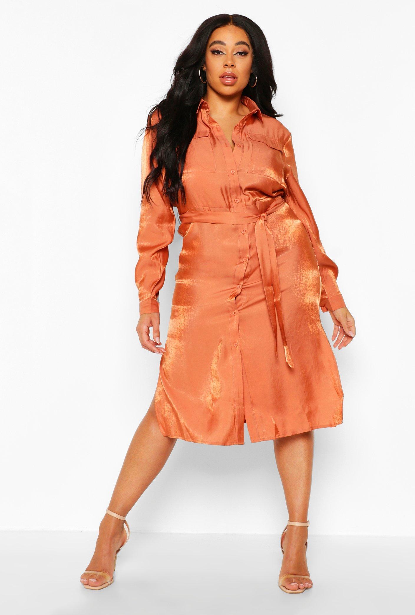 Plus Metallic Shirt Midi Dress 6