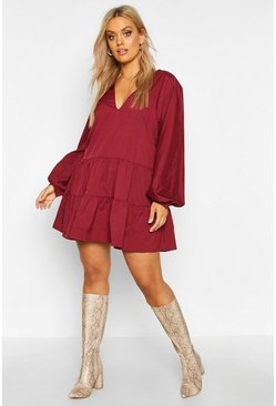 Wine red Plus Tiered V Neck Smock Dress