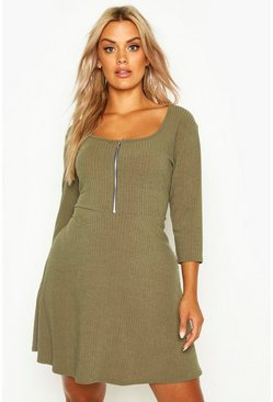 Khaki Plus Soft Rib Zip Front Skater Dress