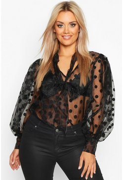 Black Plus Polka Dot Organza Pussybow Blouse