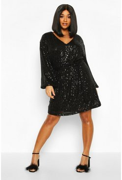Black Plus Sequin Belted Blouson Sleeve Wrap Dress