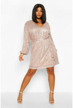 Gold metallic Plus Sequin Belted Blouson Sleeve Wrap Dress
