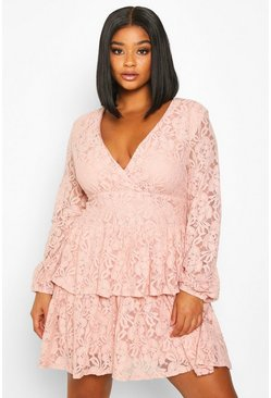 Blush pink Plus Lace Plunge Ruffle Skater Dress
