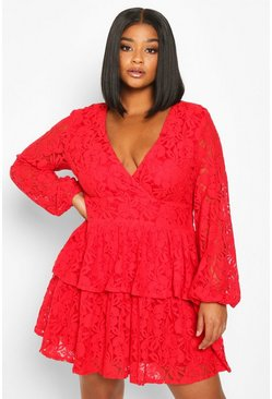 Red Plus Lace Plunge Ruffle Skater Dress