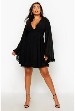 Black Plus Dobby Chiffon Wide Sleeve Skater Dress
