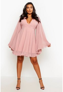 Rose pink Plus Dobby Chiffon Wide Sleeve Skater Dress