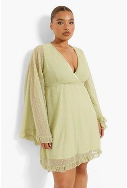 Sage green Plus Dobby Chiffon Wide Sleeve Skater Dress