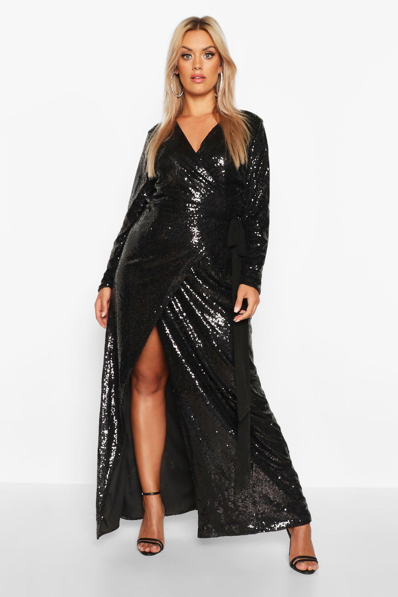 Sequin Dresses Plus Sequin Wrap Floor Sweeping Maxi Dress