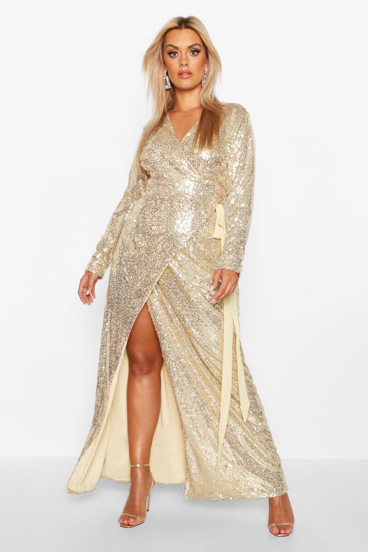 Plus Sequin Wrap Floor Sweeping Maxi Dress 8