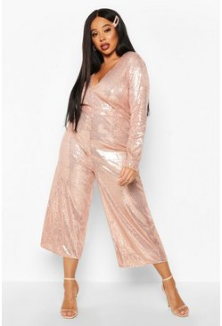 Rose gold Plus Sequin Plunge Culotte Jumpsuit