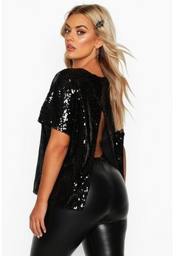 Black Plus Sequin Split Back T-Shirt