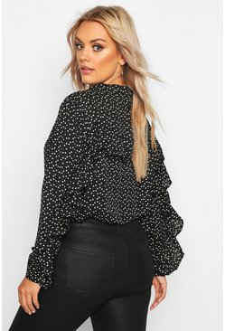 Black Plus Heart Print Ruffle Boyfriend Shirt