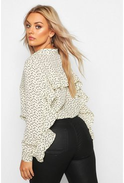 Cream white Plus Heart Print Ruffle Boyfriend Shirt