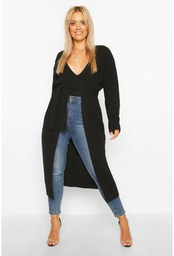 Black Plus Longline Knitted Maxi Cardigan