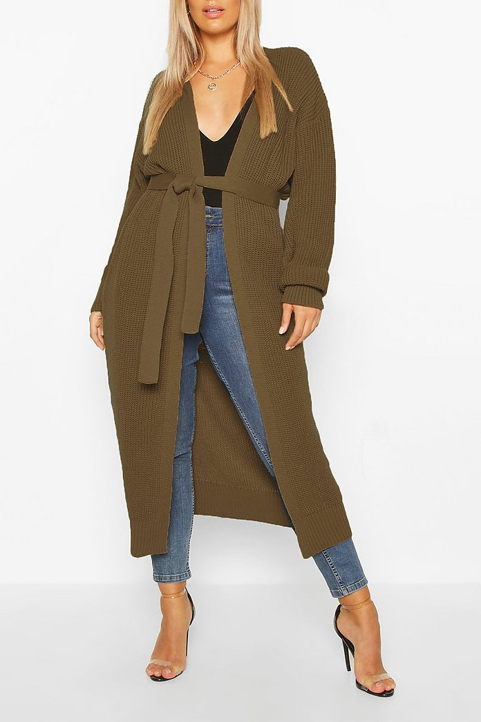 Plus Longline Knitted Maxi Cardigan | boohoo