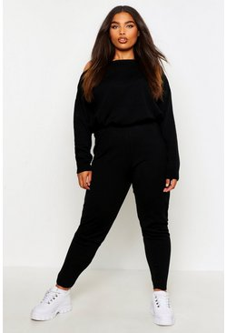 Black Plus Slash Neck Knitted Lounge Set