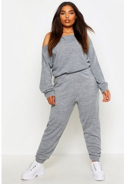 Silver grey grey Plus Slash Neck Knitted Lounge Set