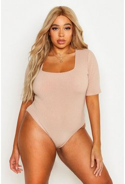 Stone Plus Rib knit Short Sleeve Bodysuit