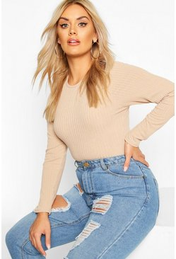 Stone Plus Soft Rib Crew Neck Long Sleeve Bodysuit