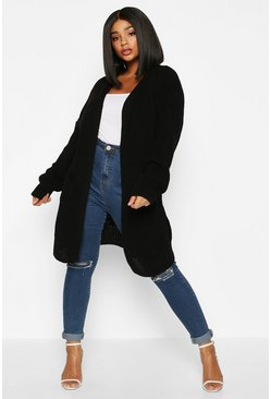 Black Plus Oversized Boyfriend Cardigan