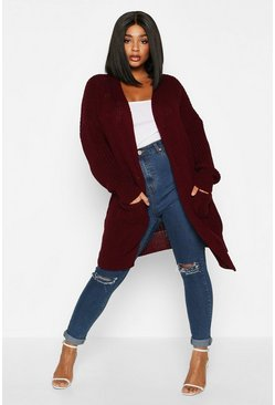 Plum purple Plus Oversized Boyfriend Cardigan