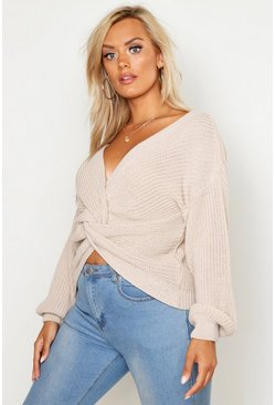 Stone Plus Twist Front Knitted Sweater