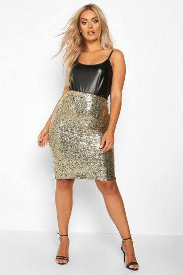 Gold metallic Plus Sequin Midi Skirt
