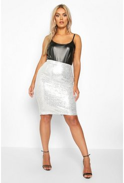Silver Plus Sequin Midi Skirt
