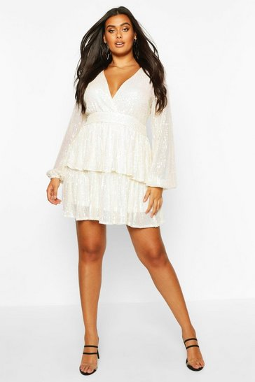 Cream white Plus Sequin Plunge Tiered Skater Dress