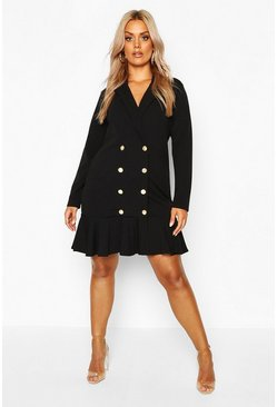Black Plus Blazer Frill Hem Dress