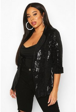 Black Plus Sequin Velvet Oversized Blazer