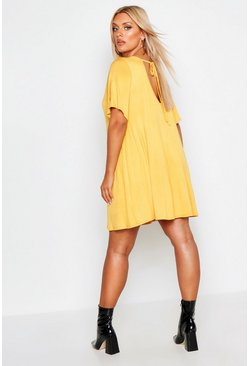 Mustard yellow Plus V Neck Swing Dress