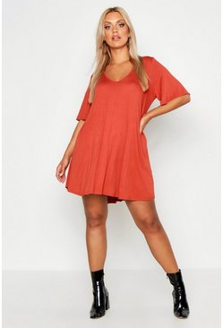 Terracotta orange Plus V Neck Swing Dress