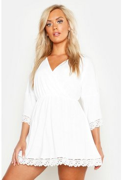 White Plus Crochet Lace Trim Beach Dress
