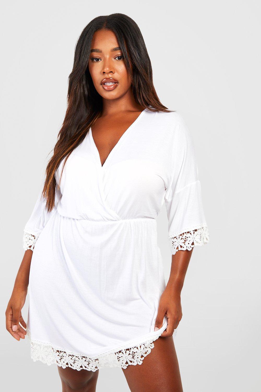Plus Crochet Lace Trim Beach Dress 6