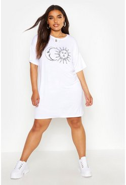 White Plus Sun And Moon T-Shirt Dress