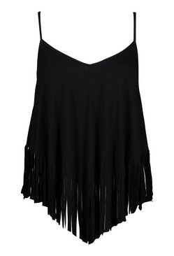 Black Plus Tassel Beach Cami